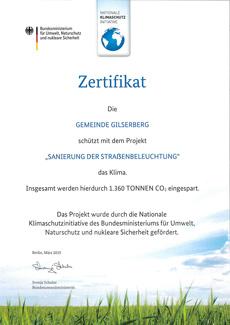Zertifikat Straßenbeleuchtung